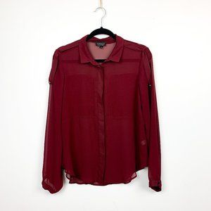 Topshop Long Sleeve Sheer Button-Up Red Blouse